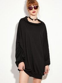 Robe sweat-shirt manche lanterne - noir
