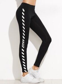 Leggings estampado lateral - negro