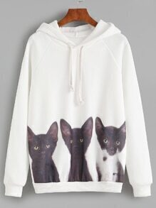 Sweat-shirt imprimé chat avec capuche - blanc