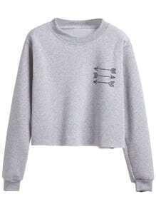 Sweat-shirt imprimé flèche manche longue - gris