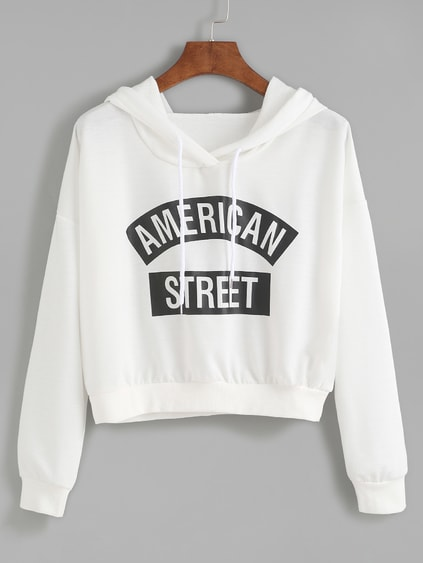 White Letter Print Hooded Sweatshirt