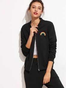 Black Rainbow Embroidered Pockets Jacket