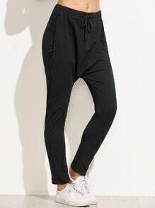 Pantalones harem con cordón en la cintura - negro