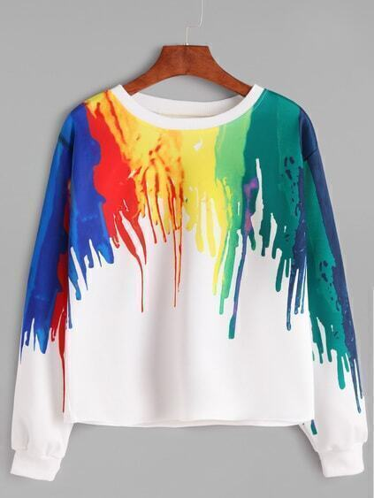 Multicolor Splash Print Casual Sweatshirt