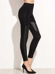 Black Contrast Faux Leather Elastic Waist Leggings