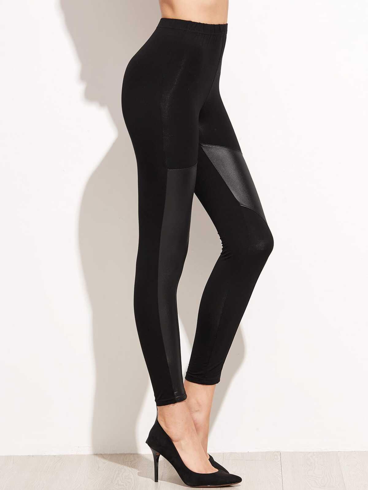 黑色 對比色 仿皮 彈性腰 緊身褲