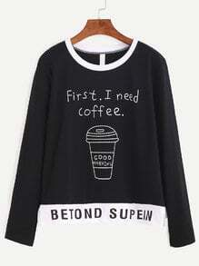 Black Slogan Print Slit Side T-shirt
