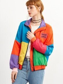 Patchwork Drop Shoulder Letter Embroidered Patch Jacket
