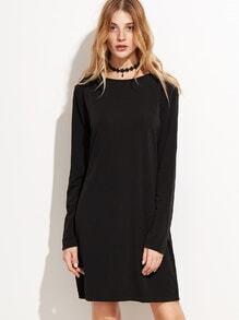 Black Long Sleeve Basic Tee Dress