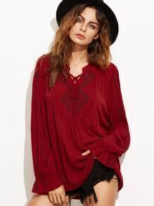 Burgundy Tie Neck High Low Embroidered Blouse