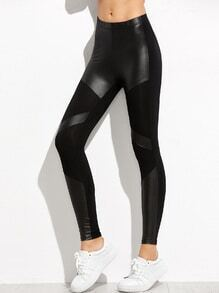 Black Contrast Skinny Leggings