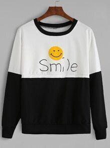 Sweat-shirt contrasté imprimé souris - noir