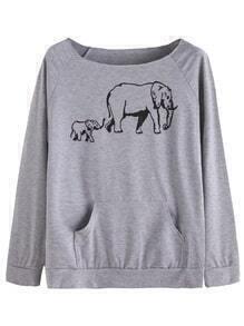 Sudadera estampada de elefante manga raglán bolsillo - gris