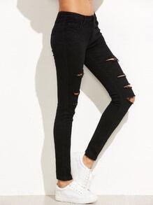 Pantalons en denim collans effet déchiré - noir