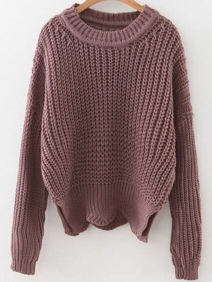 Brown Round Neck Asymmetrical Hem Sweater