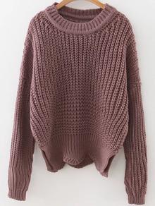 Brown Round Neck Asymmetrical Hem Sweater