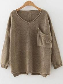 Khaki V Neck Ripped Dip Hem Sweater With Pocket