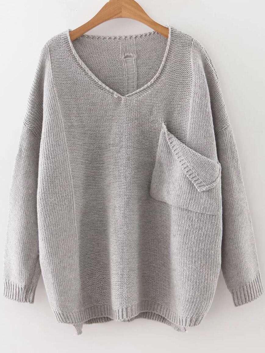 Grey V Neck Ripped Dip Hem Sweater With Pocket