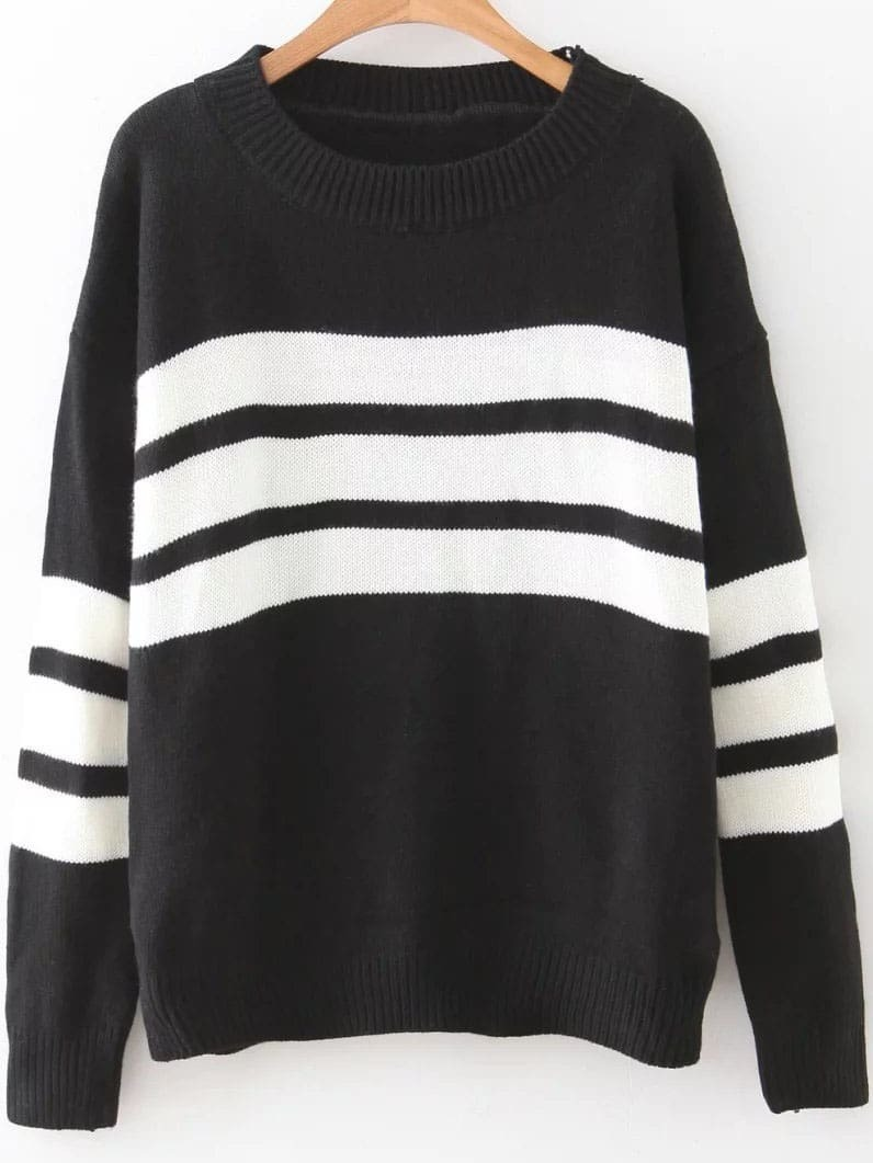 Black Striped Ribbed Trim Drop Shoulder Sweater sweater160920205