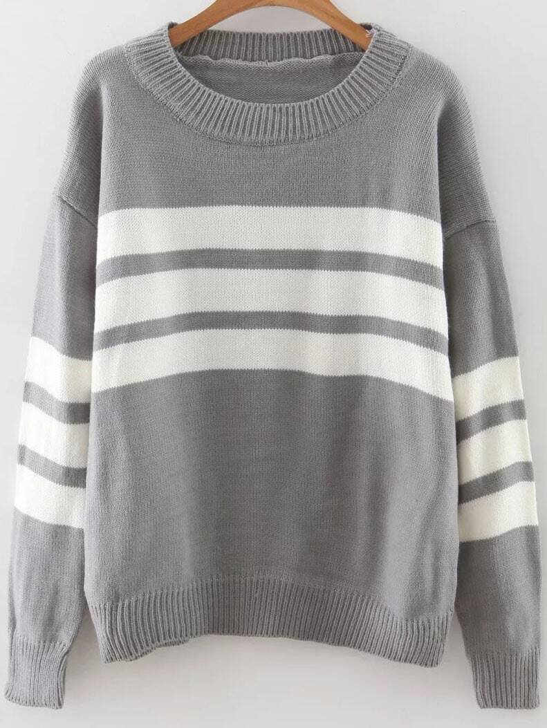Grey Striped Ribbed Trim Drop Shoulder Sweater sweater160920206