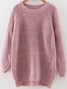 Jersey asimétrico con manga raglán - rosa