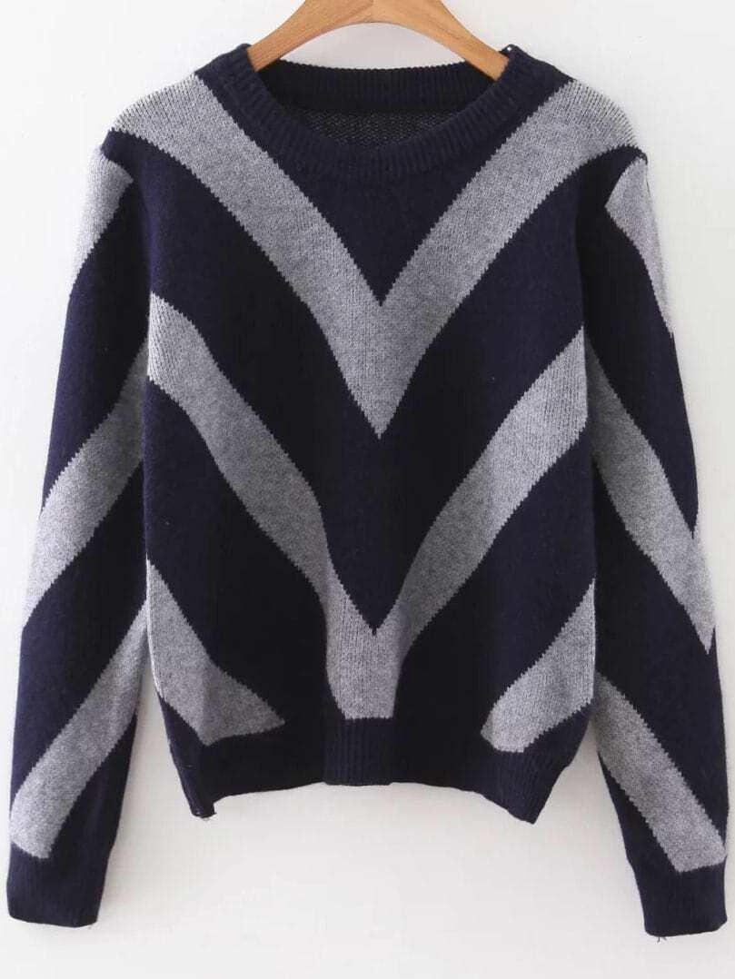 Navy Chevron Pattern Ribbed Trim Sweater
