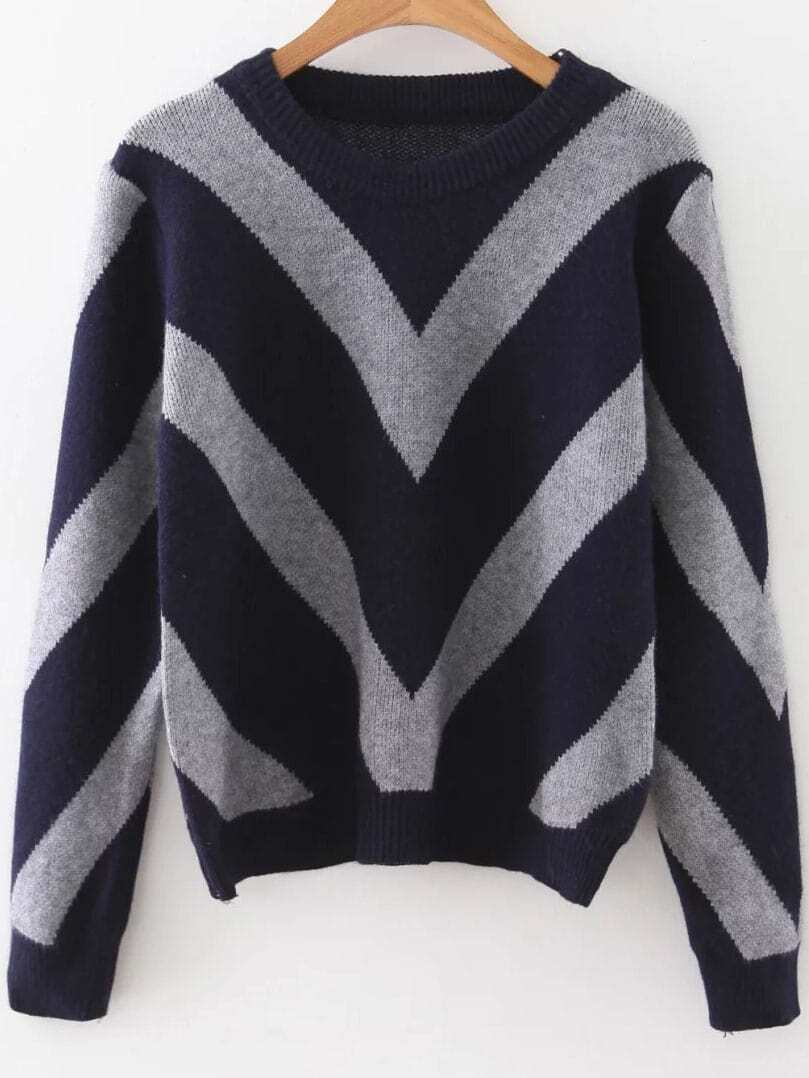 Navy Chevron Pattern Ribbed Trim Sweater