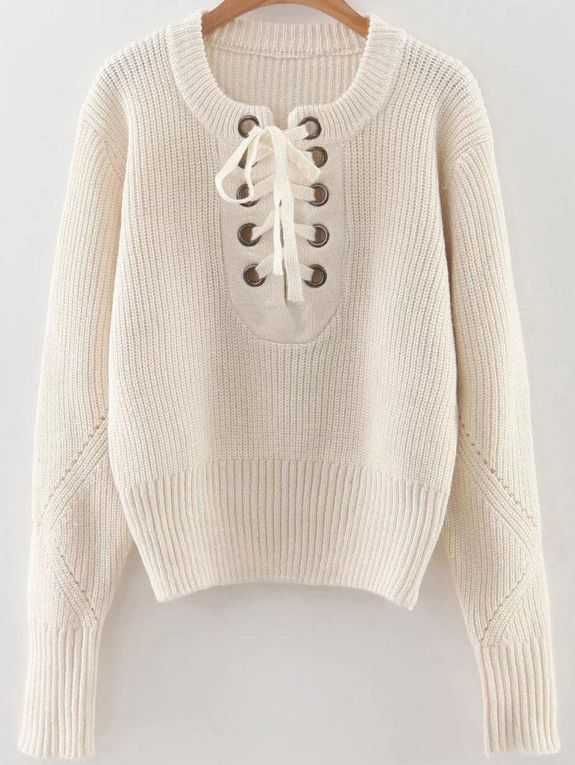White Eyelet Lace Up Ribbed Trim Sweater