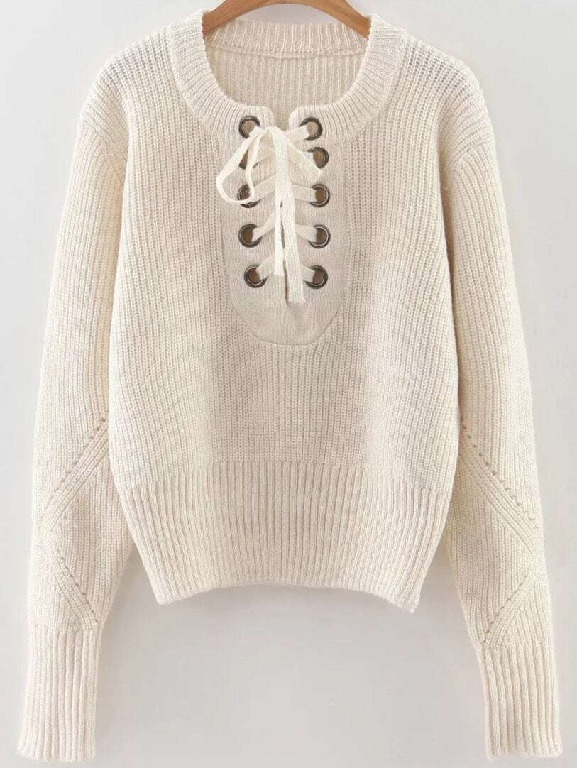 White Eyelet Lace Up Ribbed Trim Sweater