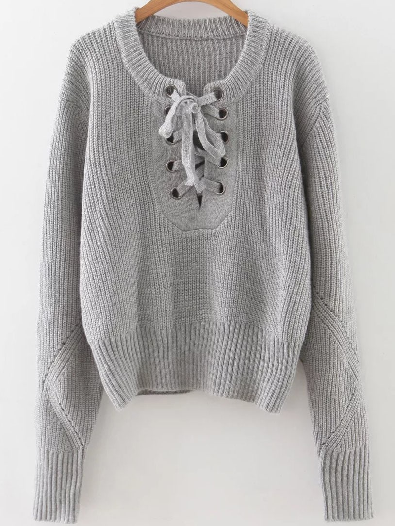 Grey Eyelet Lace Up Ribbed Trim Sweater