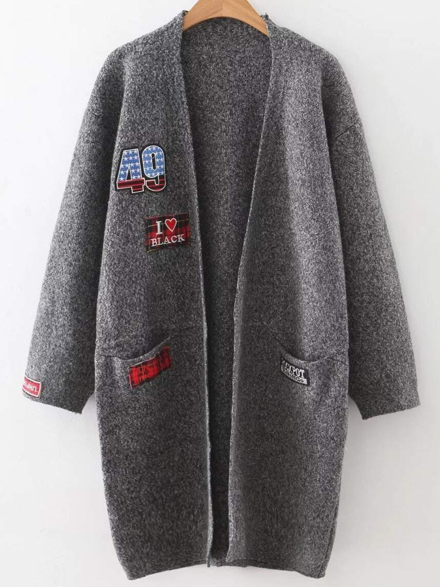 Dark Grey Patch Collarless Cardigan With Pockets sweater160920225