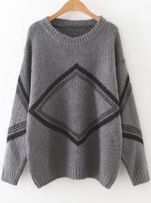 Grey Diamond Pattern Drop Shoulder Sweater