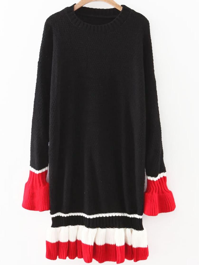 Black Color Block Bell Sleeve Ruffle Hem Sweater Dress
