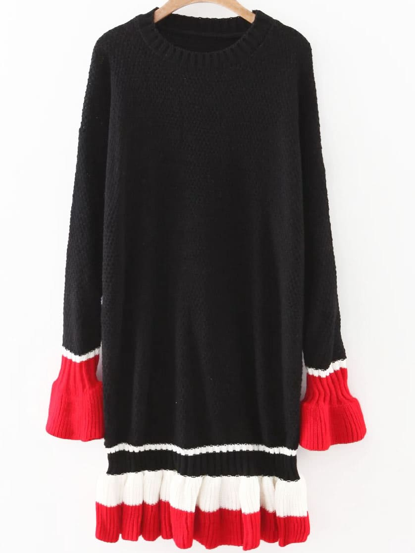 Black Color Block Bell Sleeve Ruffle Hem Sweater Dress