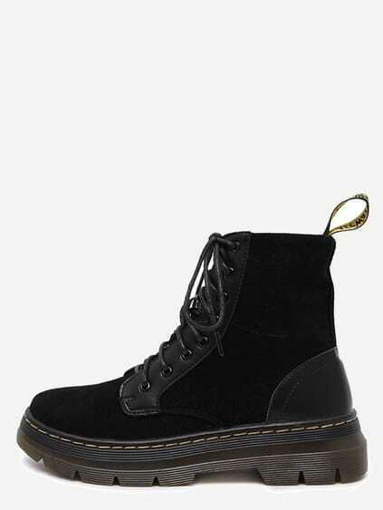 Black Nubuck Leather Lace Up Rubber Sole Short Boots