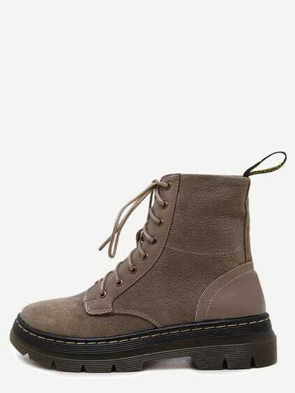 Khaki Nubuck Leather Lace Up Rubber Sole Short Boots