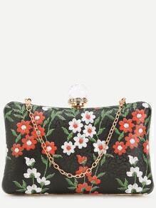 Black PU Floral Print Jewelled Evening Bag