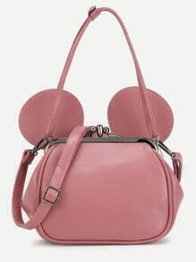 Pink PU Metallic Trim Convertible Shoulder Bag With Ear