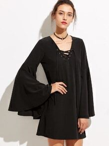 Buy Black V Neck Lace Bell Sleeve Dress