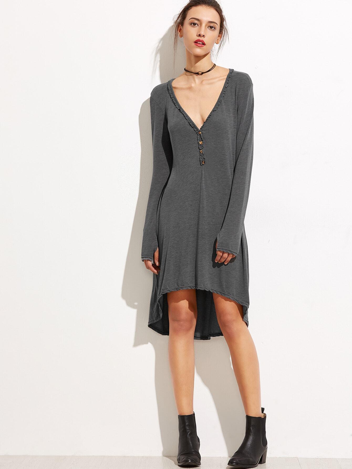 Grey Deep V Neck Dip Hem Button Front Dress dress160920103