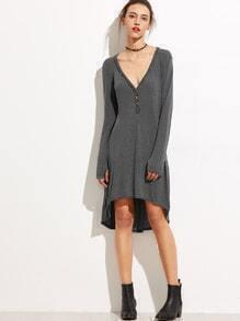 Vestido escote V asimétrico con botones - gris