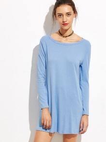 Vestido camiseta manga larga - azul