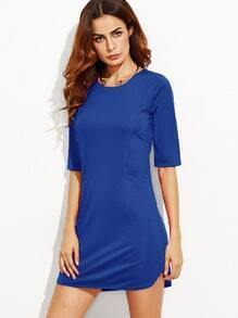 Royal Blue Elbow Sleeve Sheath Dress
