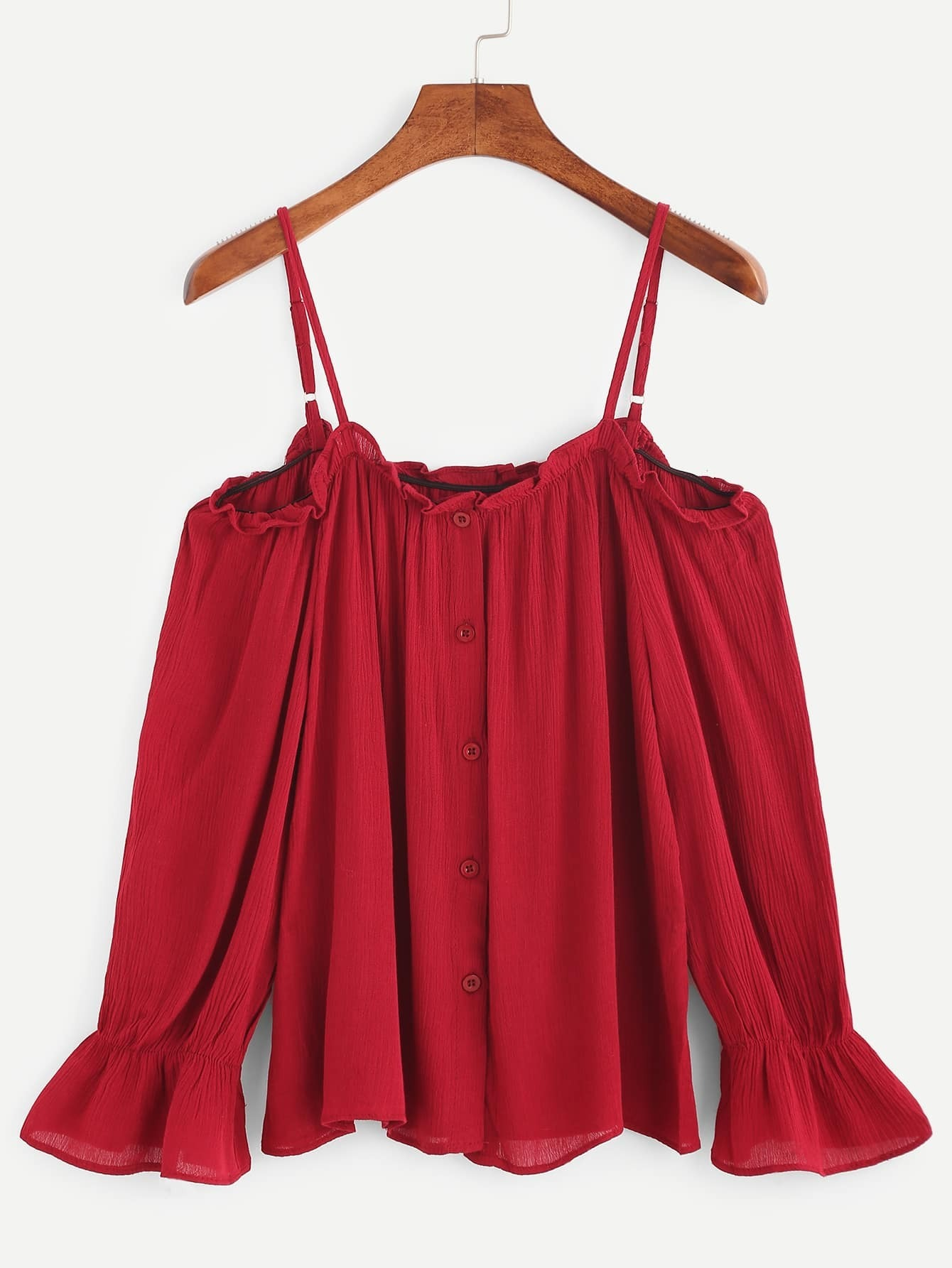Burgundy Cold Shoulder Button Front Top