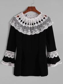 Black Contrast Lace Crochet Embroidered Blouse