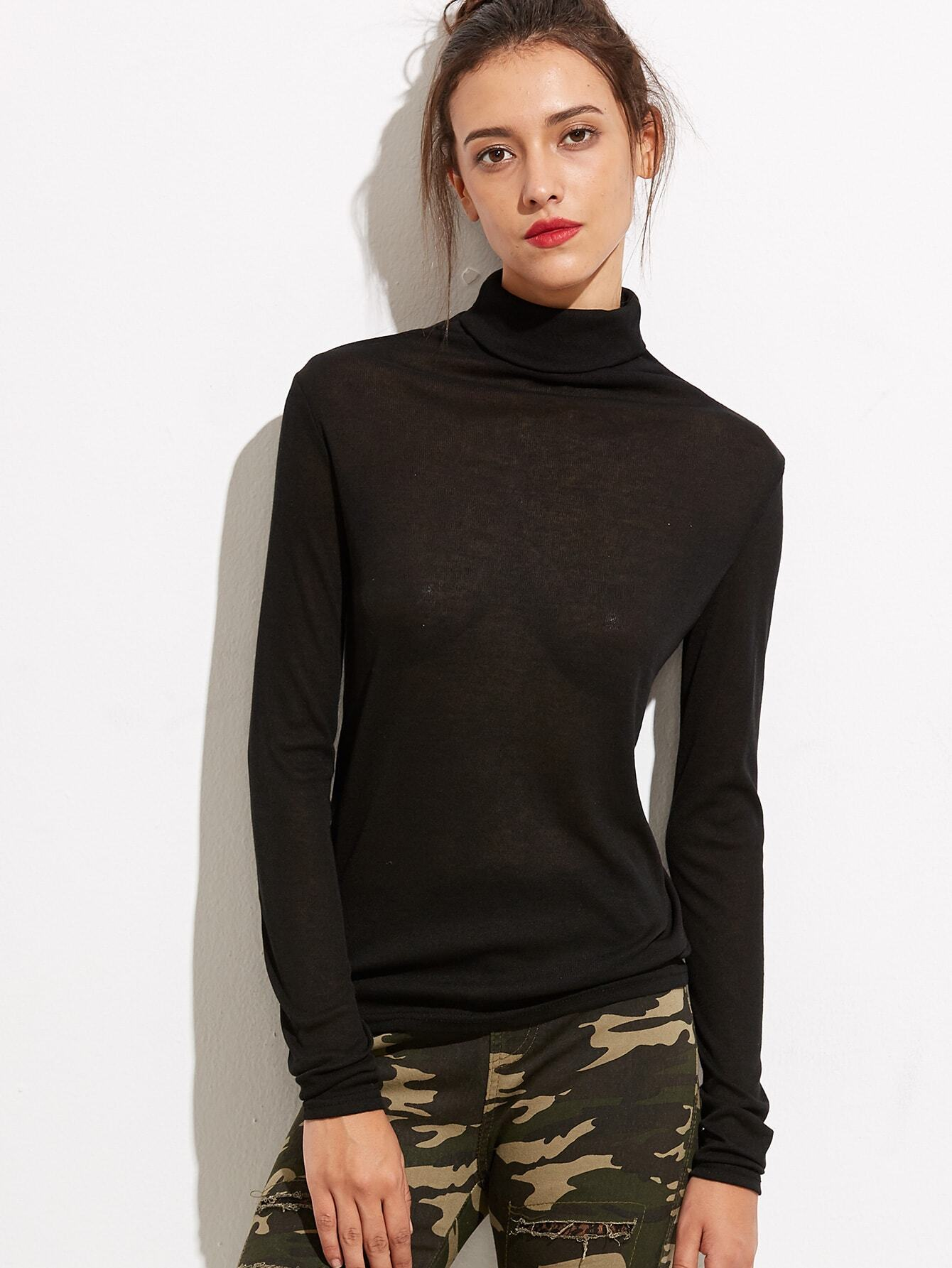 Black turtleneck long sleeve t shirt for Turtleneck under t shirt