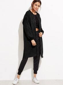 Black Drop Shoulder Slit Side Suede Coat