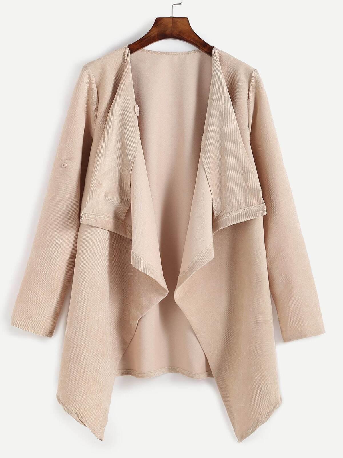 淺杏桃色  垂掛帶 正面 外套