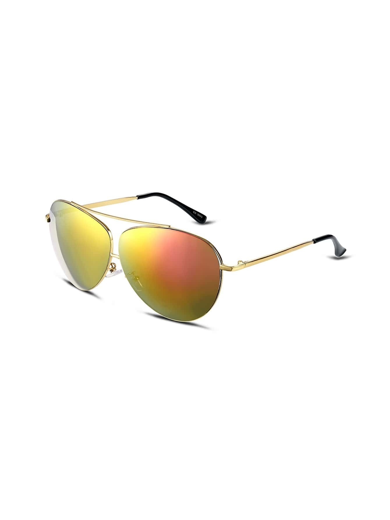 Gold Frame Mirrored Aviator Sunglasses : Gold Frame Double Bridge Mirrored Aviator Sunglasses