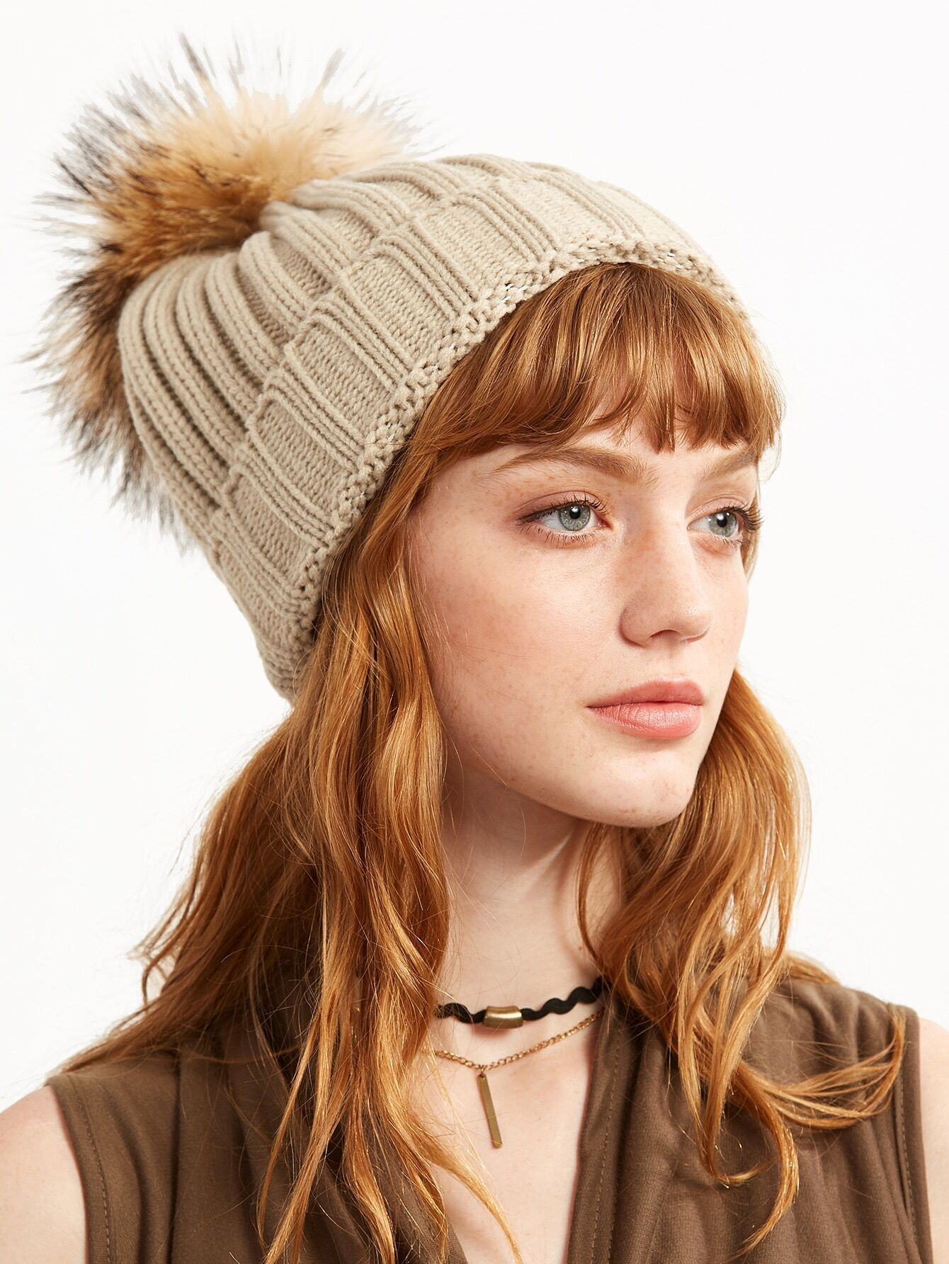 Beige Ribbed Detachable Pom Pom Hat hat160920301